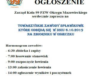 Toarzyskie Zawody Spławikowe w Osieczku 6.10.2019
